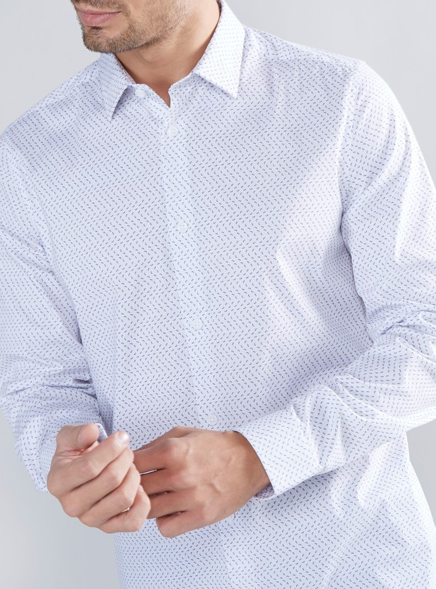 Printed Slim Fit Shirt with Spread Collar and Long Sleeves