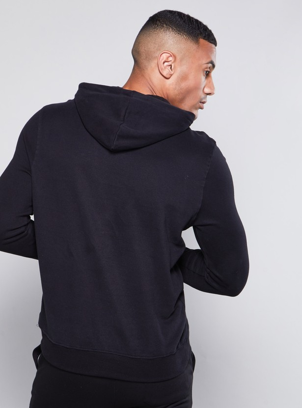 Solid Hoodie with Long Sleeves