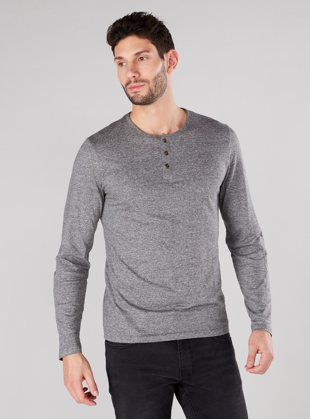 Plain T-shirt with Henley Neck and Long Sleeves