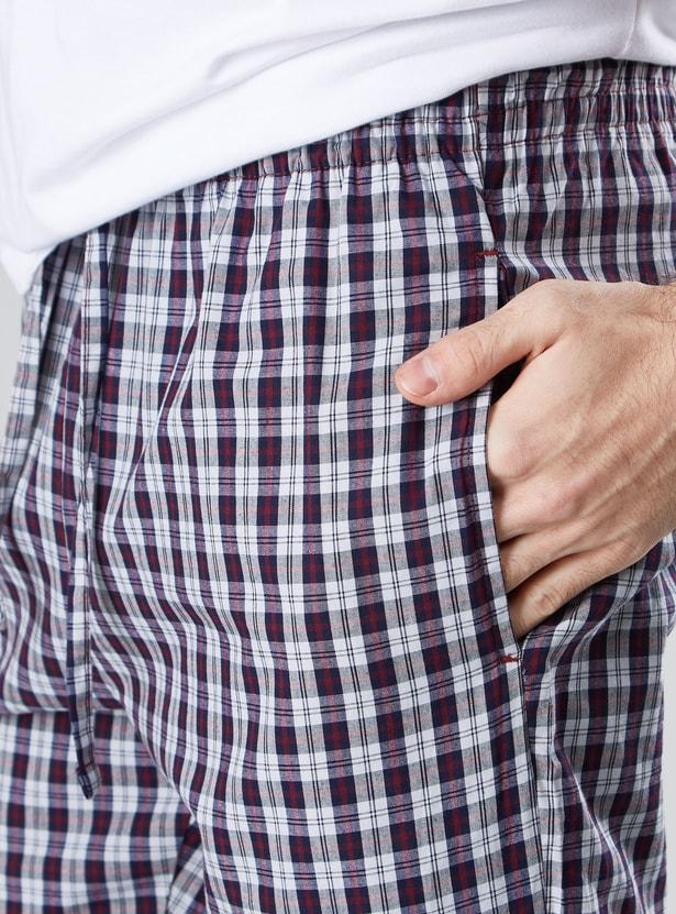 بنطال بيجاما طويل كاروهات بتفاصيل جيوب