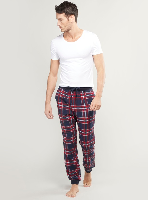 Chequered Jog Pants with Elasticised Waistband and Pocket Detail