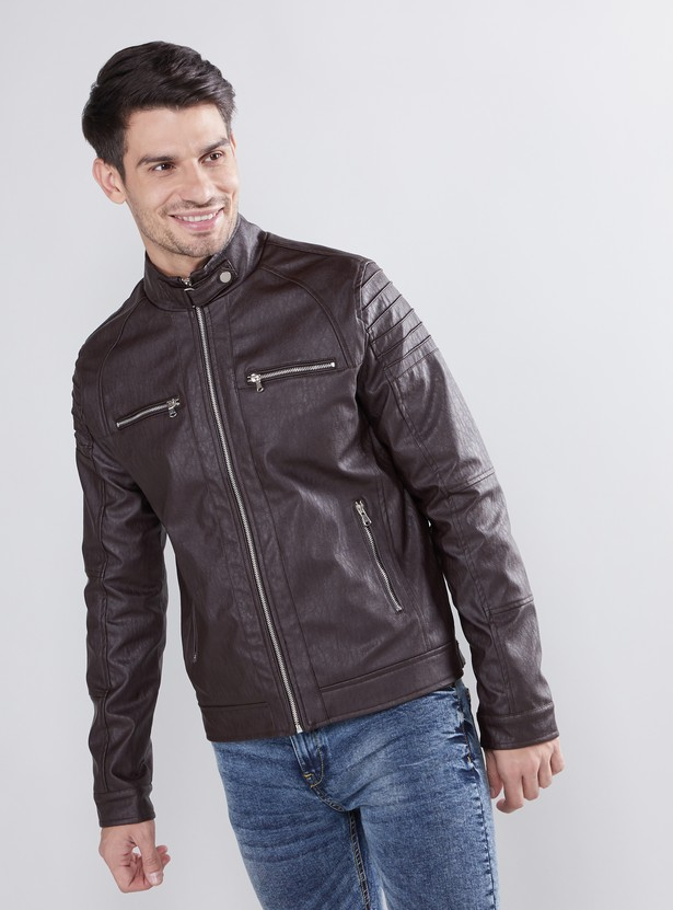 Textured Long Sleeves Jacket with High Neck and Pocket Detail