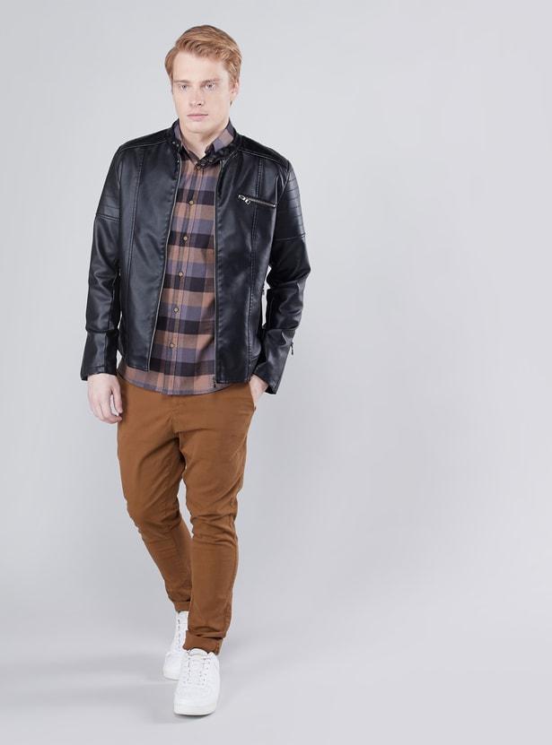 Zip Front Biker Jacket with Long Sleeves