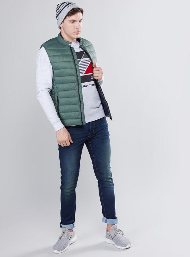 Sleeveless Zip-Front Puffer Jacket