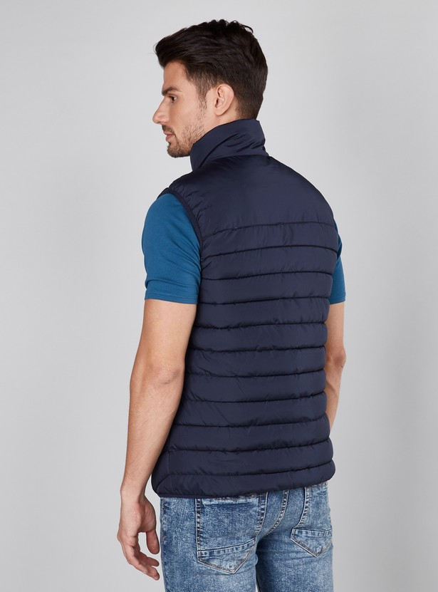 Quilted Gilet Jacket with Pockets and Zip Closure