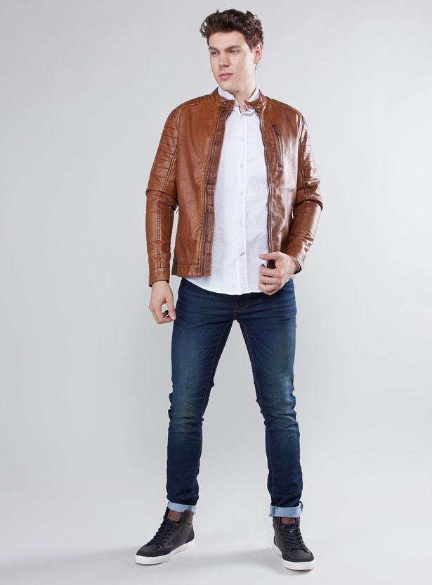 Long Sleeves Biker Jacket with Zip Closure and Pocket Detail
