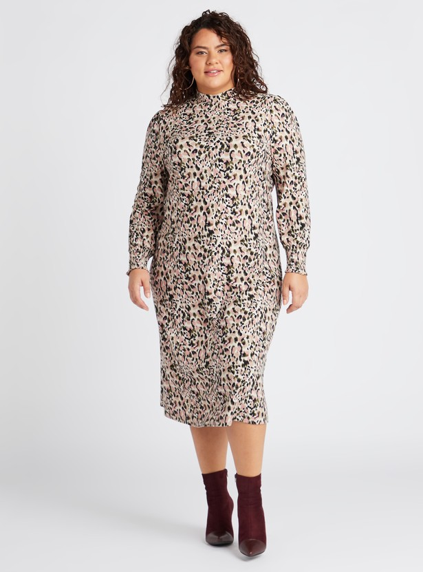 Animal Print High Neck A-line Midi Dress with Long Sleeves