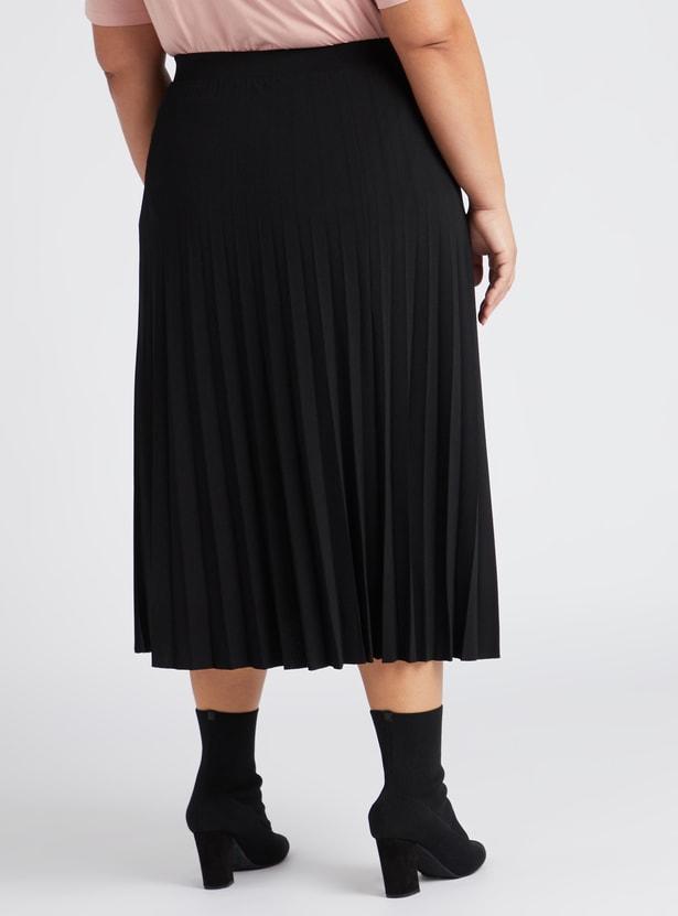 Solid Pleated Midi Skirt with Elasticised Waistband