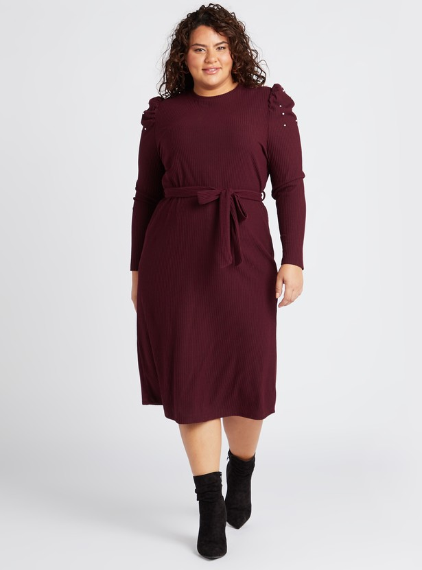 فستان ميدي إيه لاين بأكمام منفوخة وأربطة وتزيينات