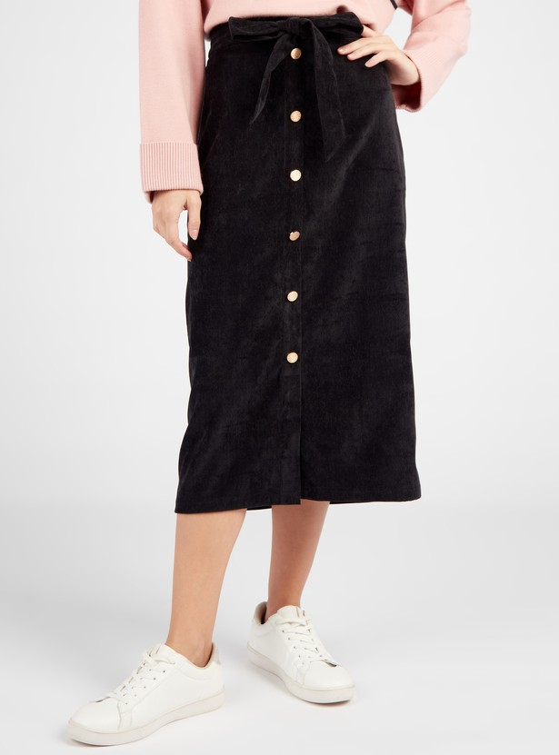 Textured Midi A-line Skirt with Elasticated Waistband and Button Placket