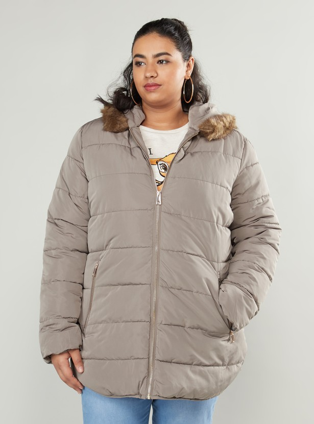 Textured Parka Jacket with Long Sleeves and Fur-Detail Hood