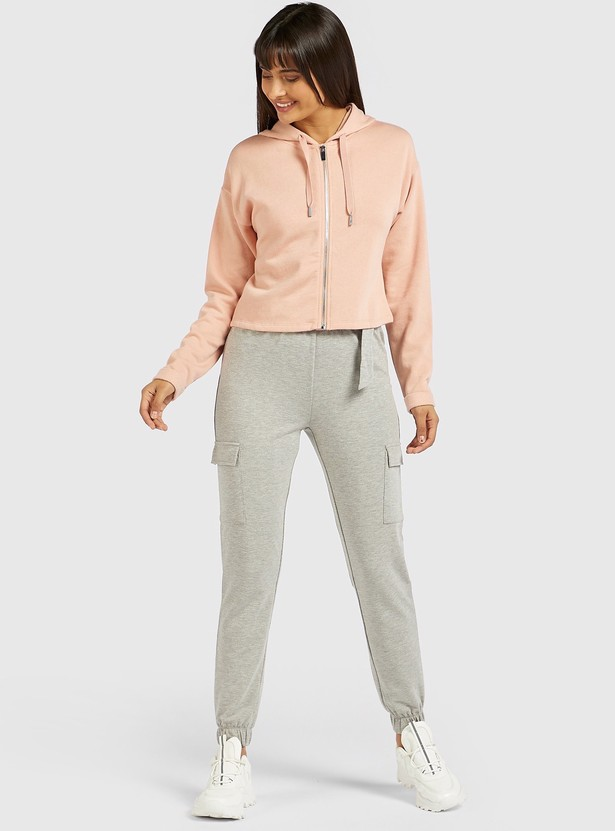 Solid Cargo Jog Pants with Belt and Pockets