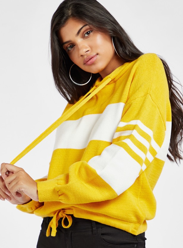 Colourblocked Hoodie with Drawstring Hem and Long Sleeves