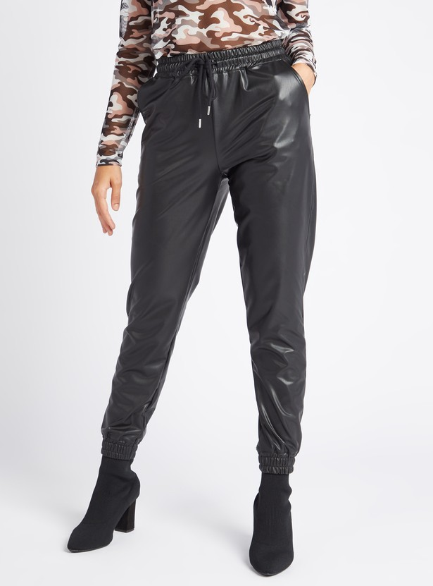 Solid High-Rise Faux Leather Jog Pants with Drawstring Closure