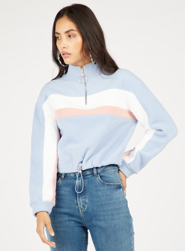 Colourblock Sweat Top with High Neck and Long Sleeves