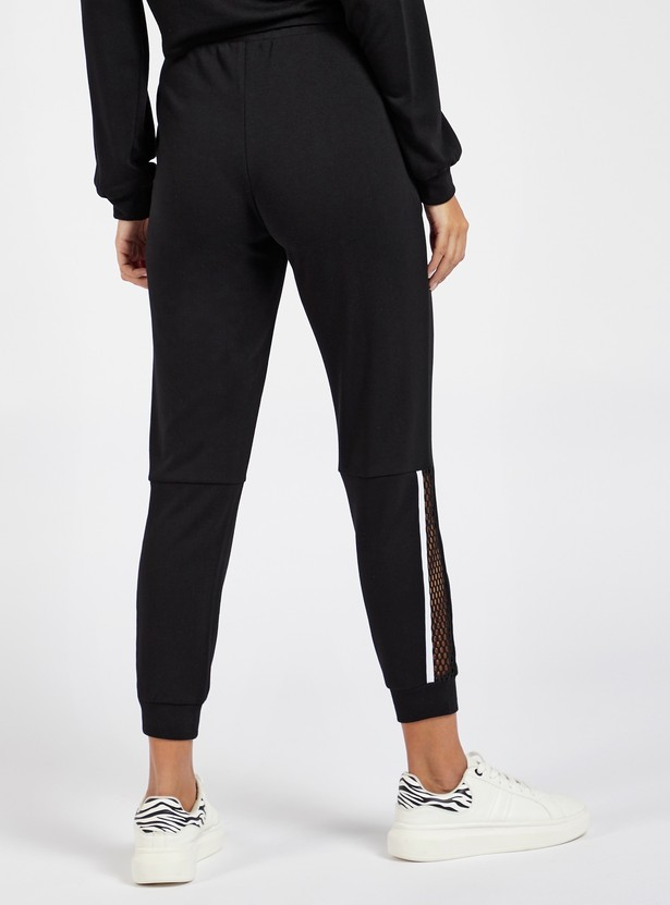 Solid Cropped Joggers with Mesh Inserts and Pockets
