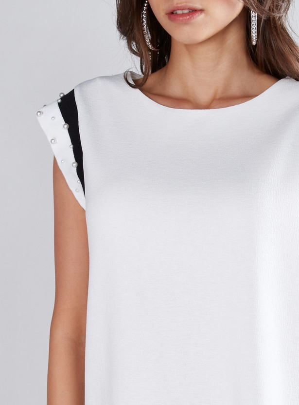 Pearl Detail Top with Round Neck and Cap Sleeves
