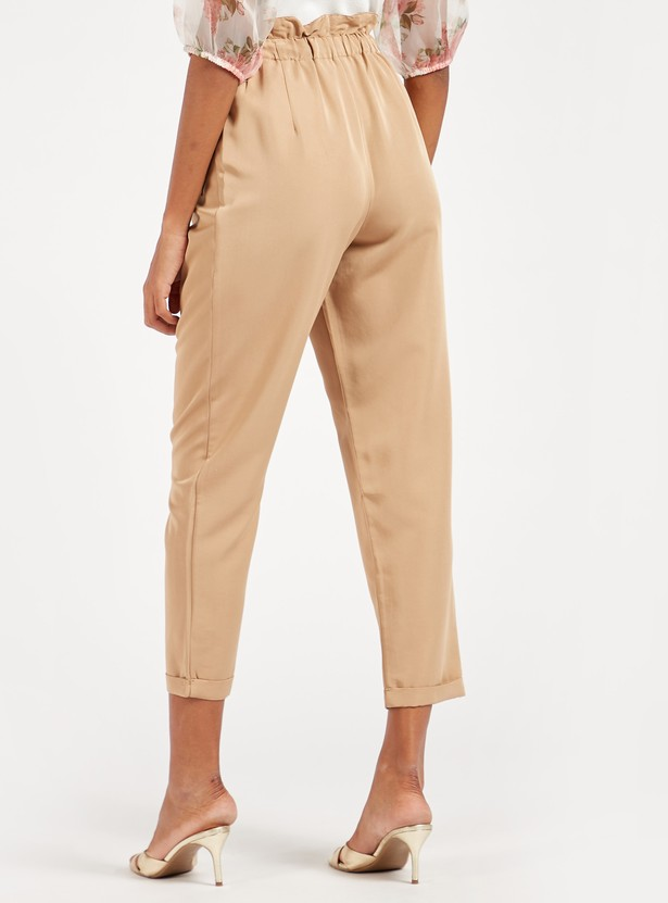 Solid Ankle-Length Pants with Paper Bag Waist and Drawstring