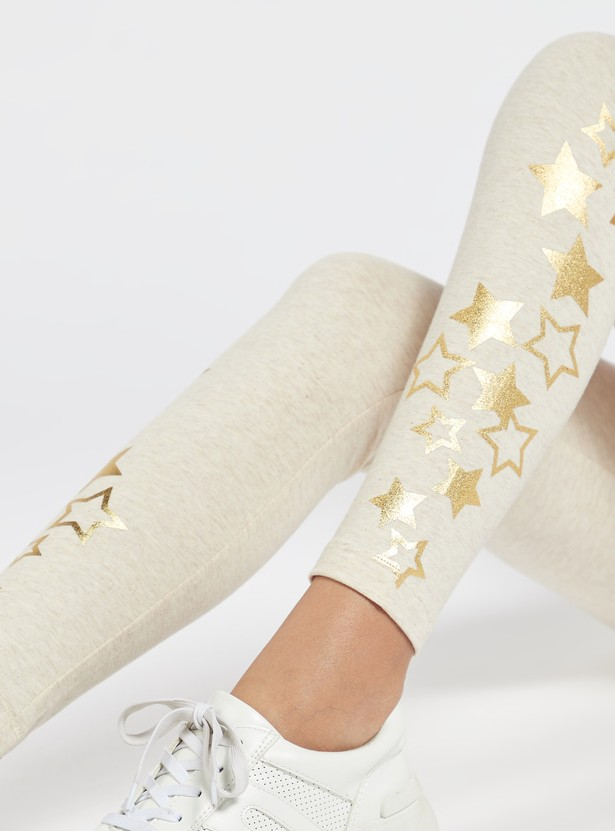Skinny Fit Star Print Leggings with Elasticised Waistband