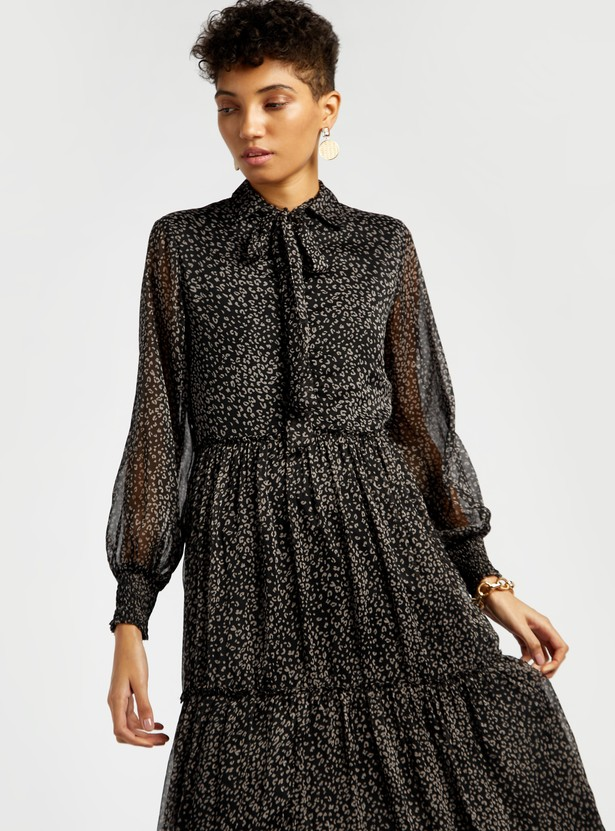 Printed Maxi Tiered Dress with Long Sleeves and Necktie