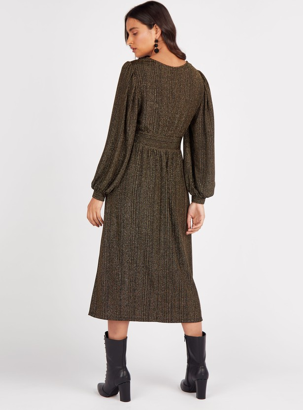 Shimmer Detail Midi A-line Dress with Round Neck and Long Sleeves