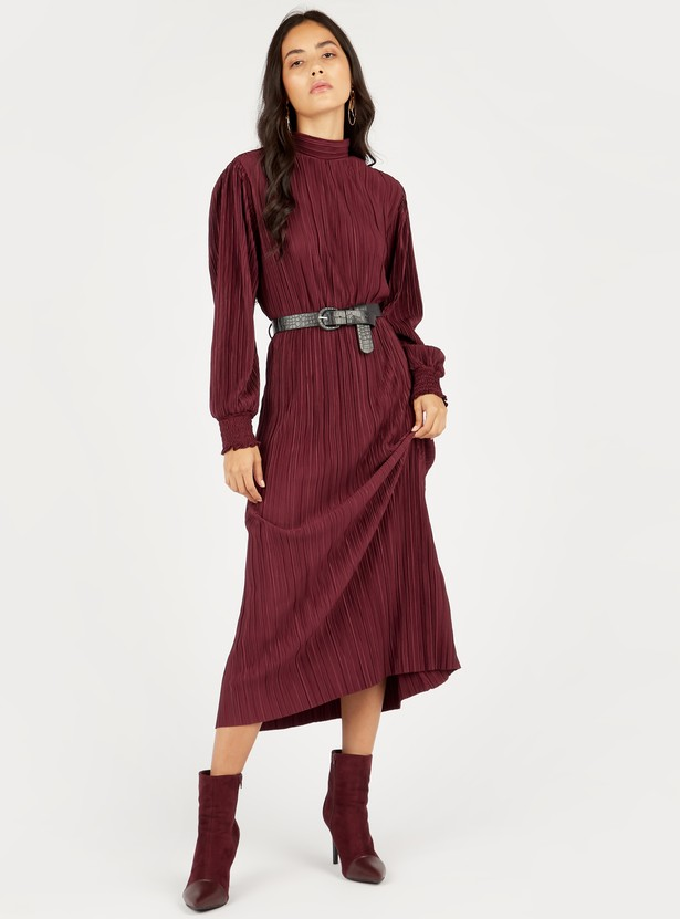 Textured Midi Shift Dress with High Neck and Long Sleeves