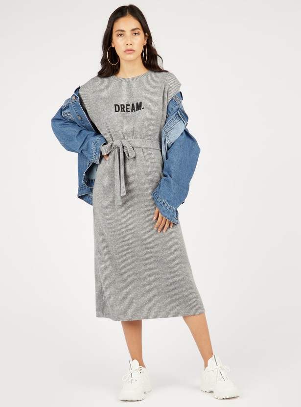Textured Midi Shift Dress with Long Sleeves and Tie-Ups