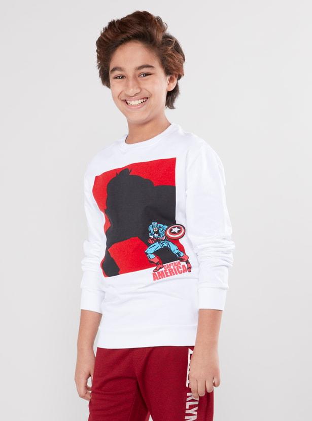 Captain America Printed Sweatshirt with Round Neck