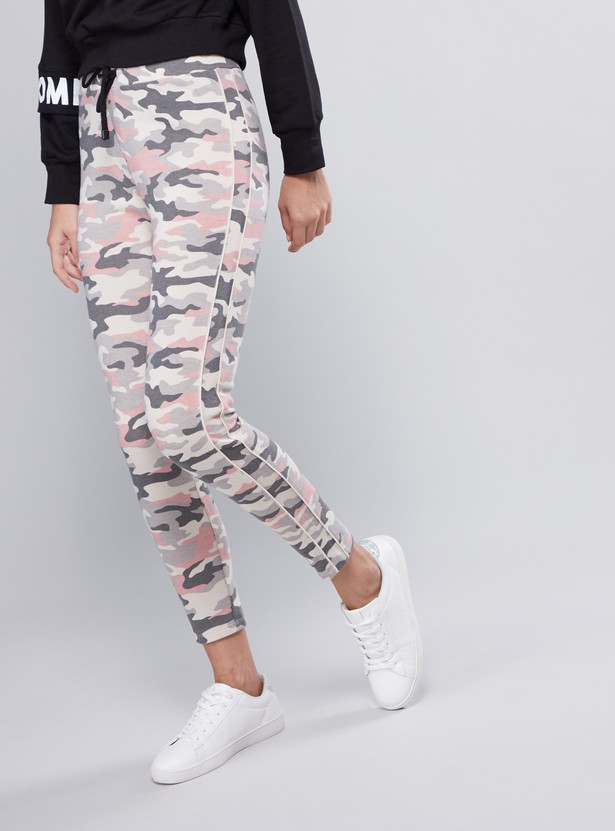 Camouflage Print Mid-Rise Jog Pants with Elasticised Waistband and Drawstring