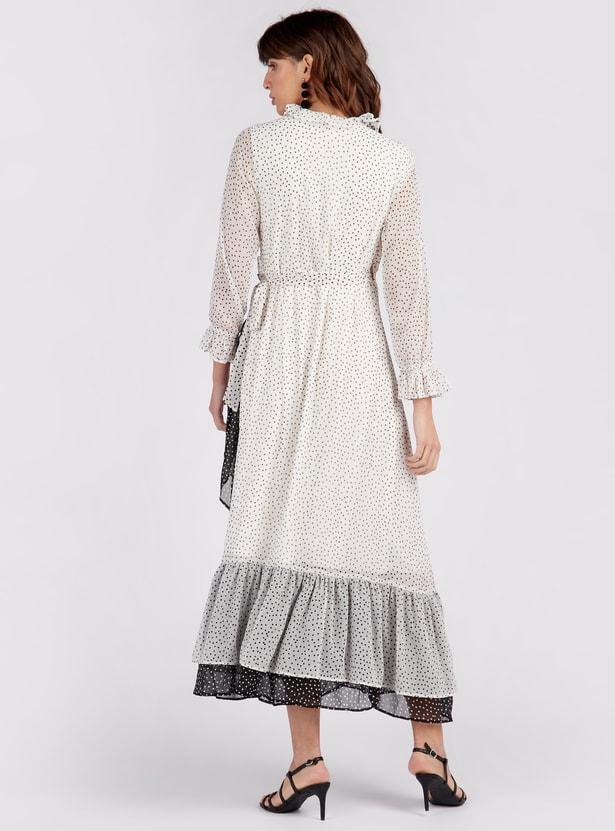 فستان إيه لاين طويل بأكمام طويلة وطبعات