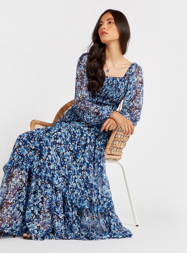 Floral Print Maxi Tiered Dress with Long Sleeves and Square Neck