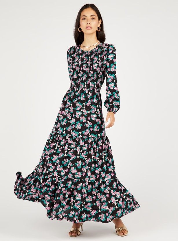 Floral Print Tiered Maxi Dress with Smocking Detail