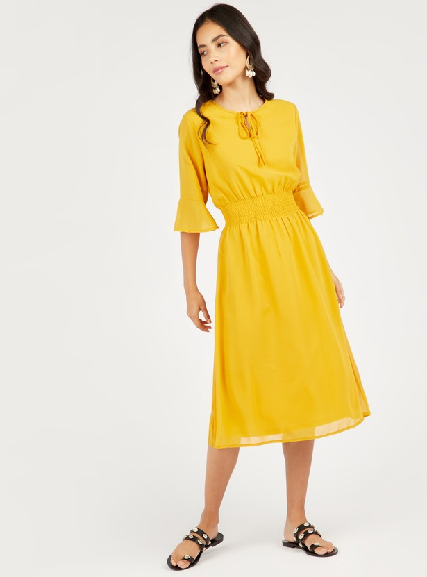 Solid A-line Midi Dress with Bell Sleeves and Tie-Ups