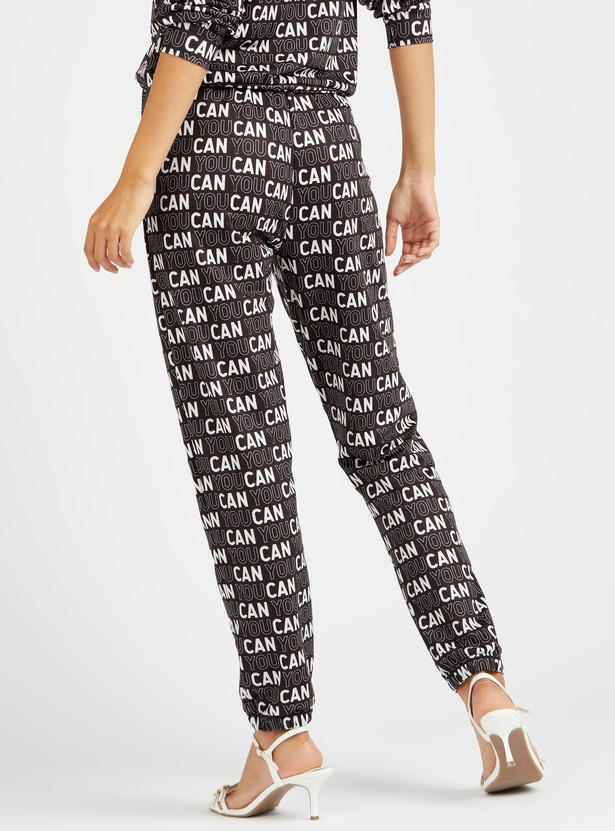Slogan Print Joggers with Cuffed Ankles and Drawstring Closure