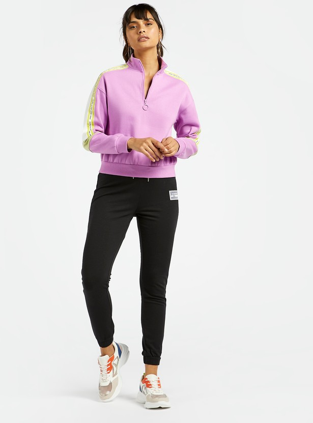 Solid Sweat Top with High Neck and Zip Detail