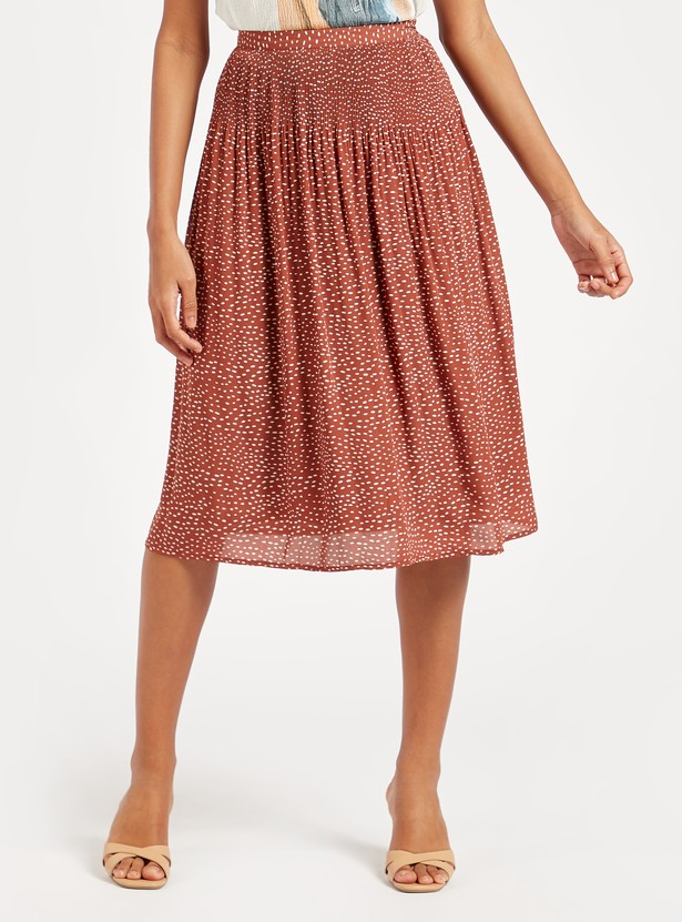 Printed A-line Midi Skirt with Pleat Detail