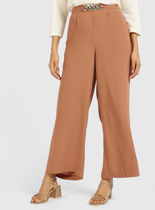 Solid Mid-Rise Palazzos with Chain Waist