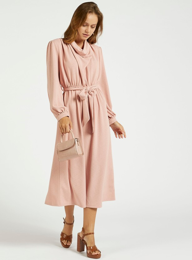 Solid Midi A-line Dress with Bishop Sleeves and Belt