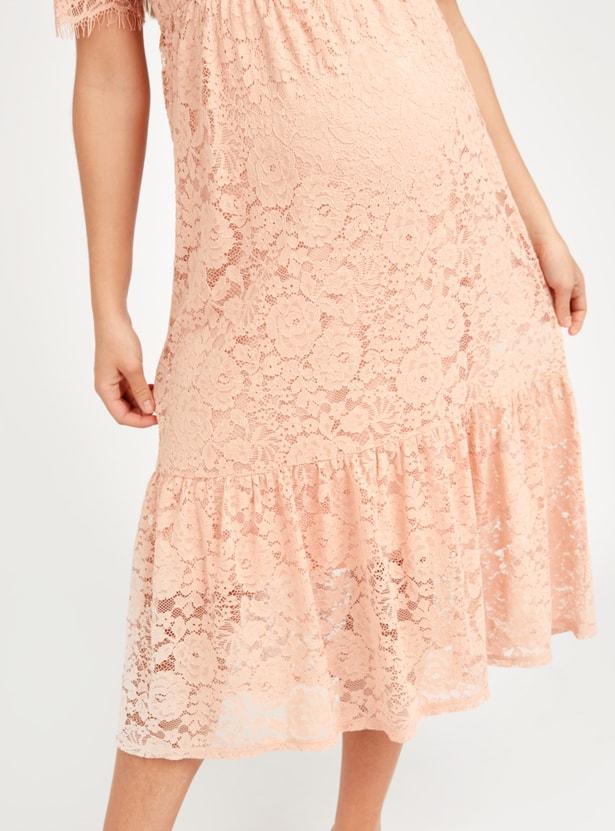 فستان حوامل إيه لاين متوسط الطول بأكمام قصيرة وياقة V ودانتيل