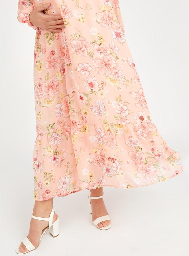 فستان حوامل طويل إيه لاين بطبعات زهرية وياقة V وأكمام طويلة