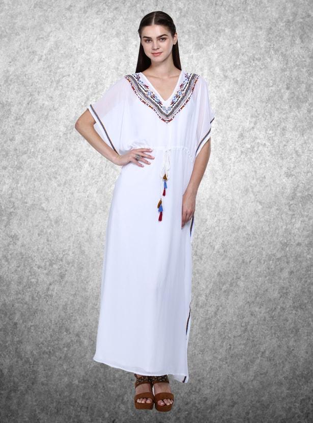 Embroidered V-Neck Kimono Sleeves Maxi