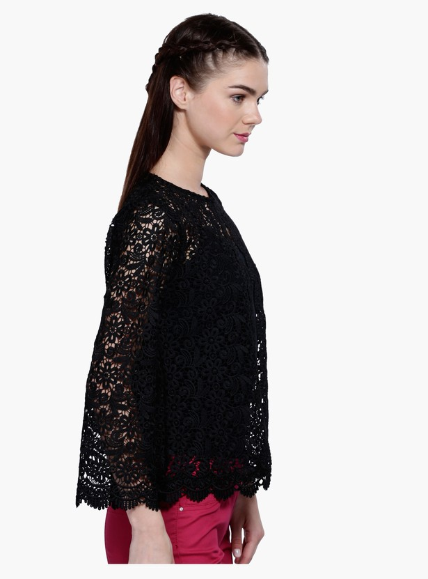 Long Sleeves Jacket with Lace Detail