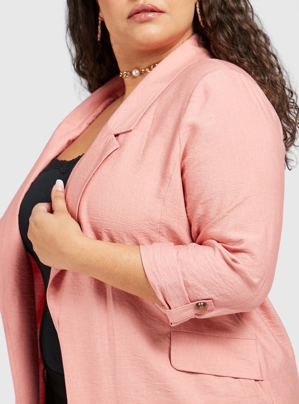 Solid Blazer with Notch Collar and Long Sleeves