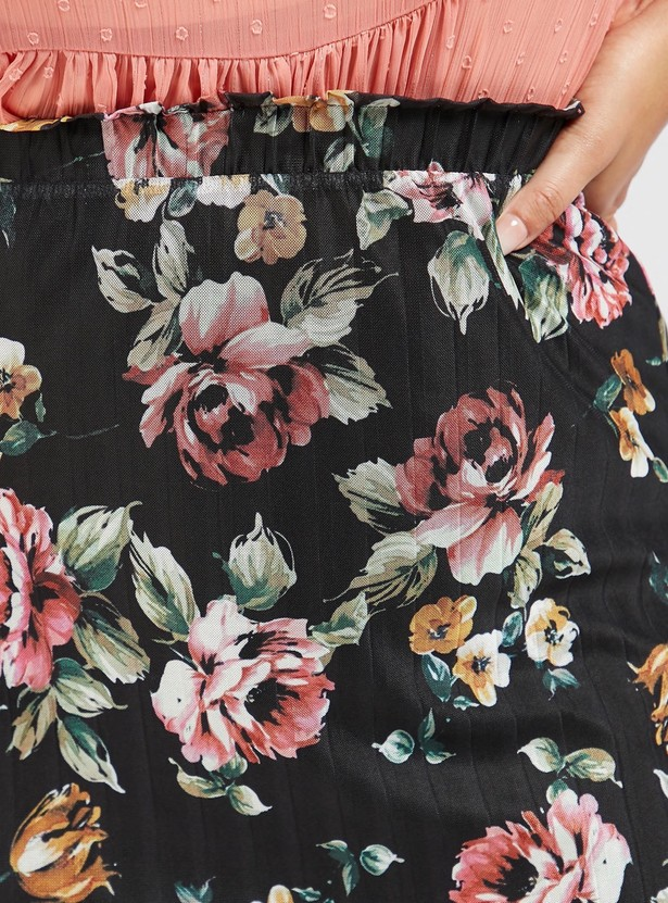 All-Over Floral Print Skirt with Mesh Detail and Elasticised Waistband