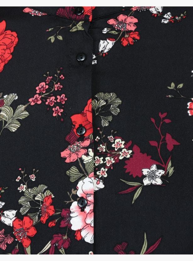 Printed Mandarin Collar Shirt with Long Sleeves