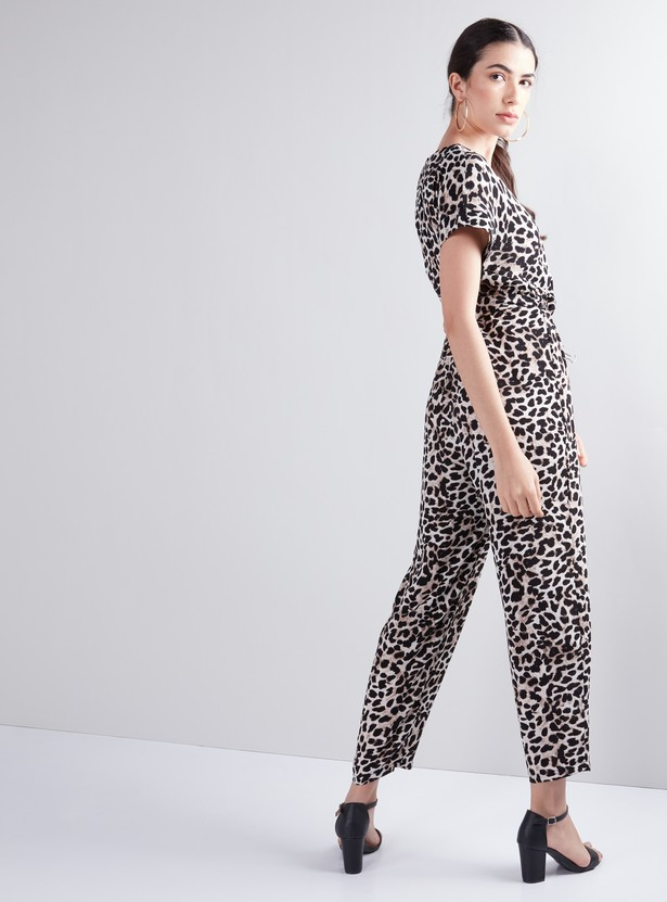 Animal Printed Jumpsuit with V-Neck
