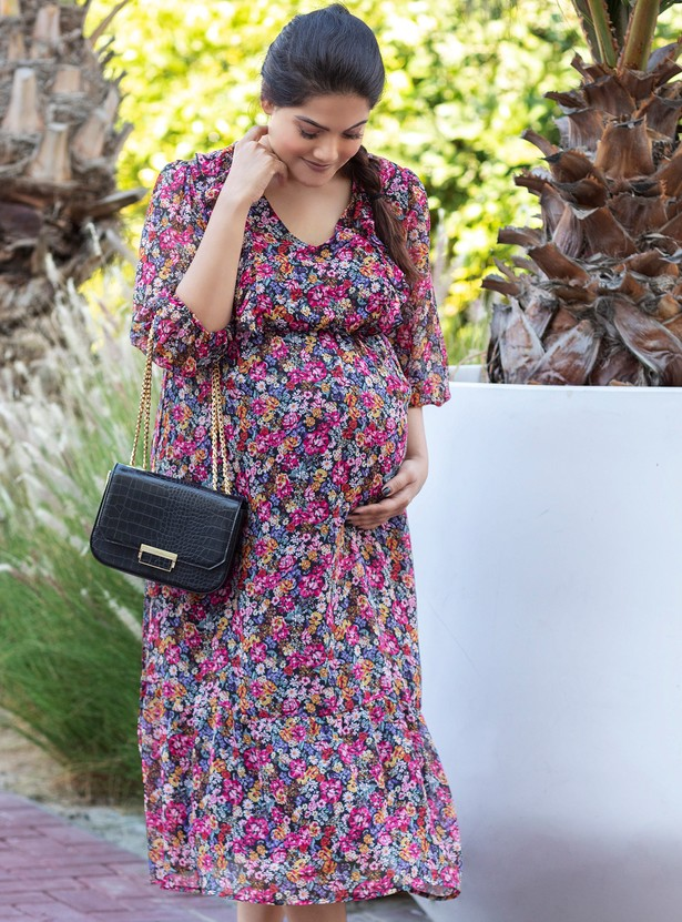Floral Print Midi A-line Dress with V-neck and 3/4 Sleeves