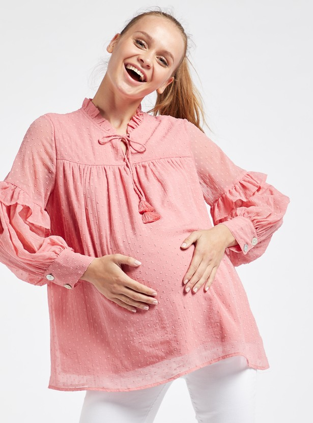 Swiss Dot Embroidered Maternity Blouse with Long Sleeves and Frills