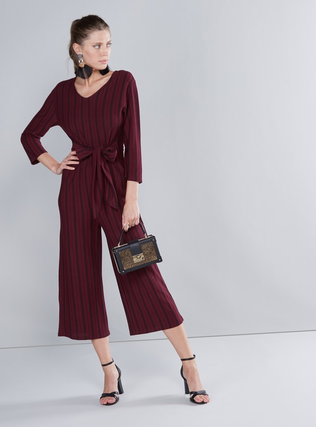 Striped V-neck Jumpsuit with 3/4 Sleeves and Tie Ups