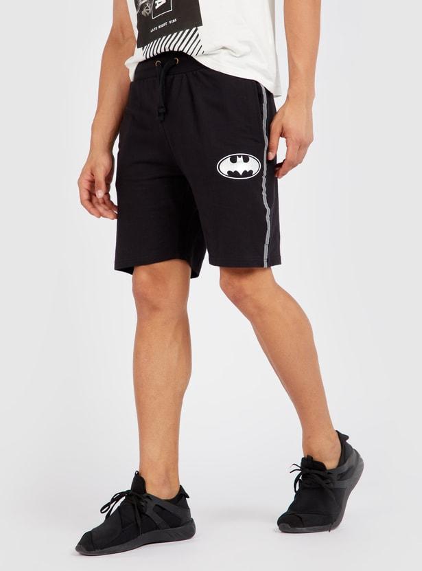 Batman Logo Print Shorts with Reflective Side Tape Detail